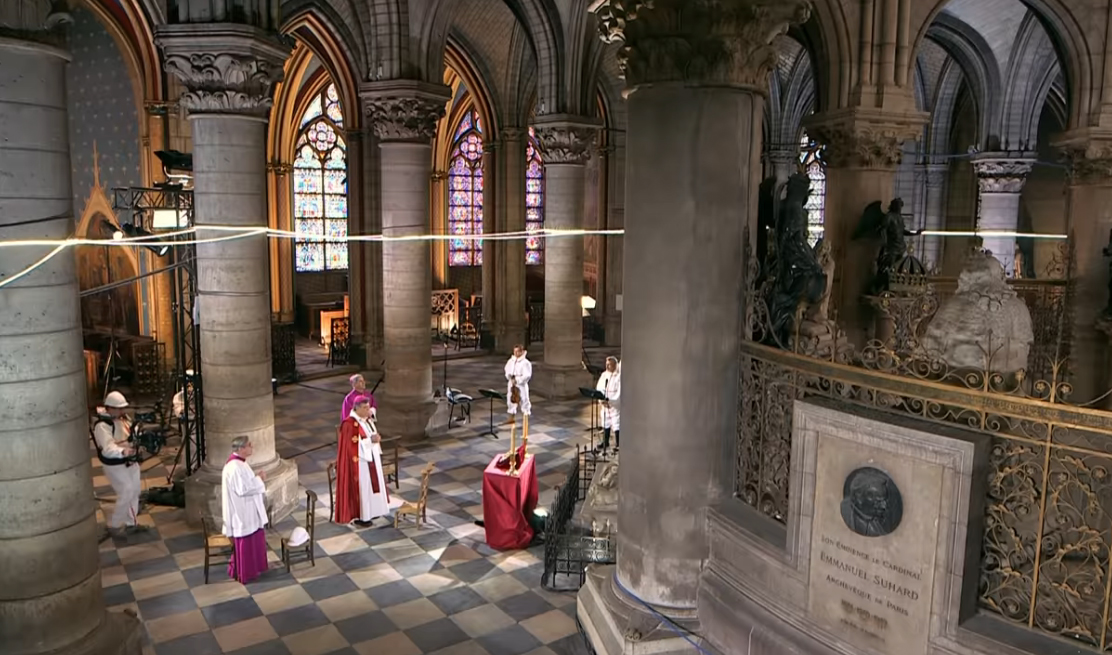 Easter in an empty, half-ruined Notre Dame