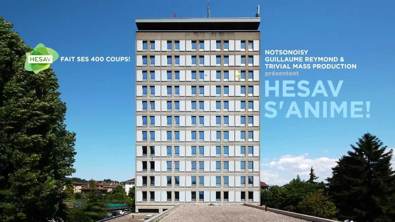 El artista francosuizo Guillaume Reymond ha elaborado un vídeo sobre la torre de la HESAV (Health High School Vaud) con motivo de la celebración de los diez años de funcionamiento de la escuela suiza.