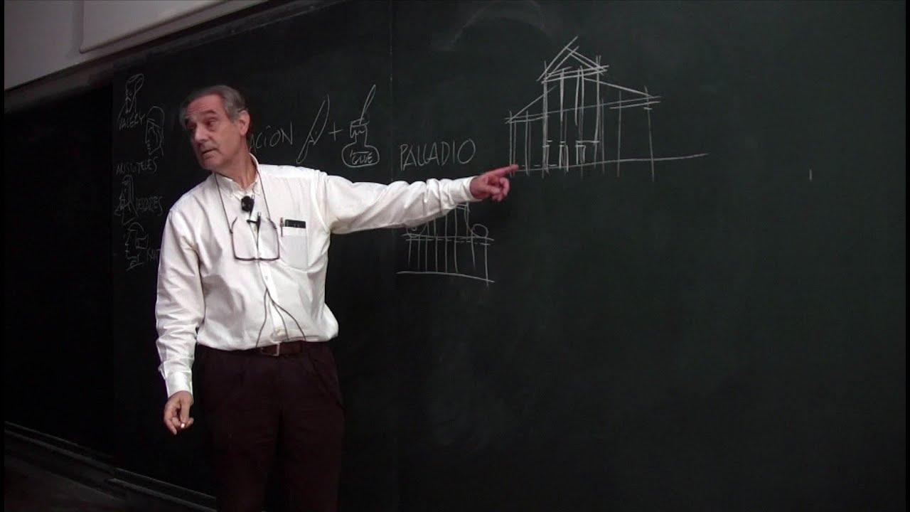 El profesor Justo Isasi, catedrático de Proyectos en la ETSAM (Escuela Técnica Superior de Arquitectura de Madrid, UPM) da una de sus charlas dibujadas.