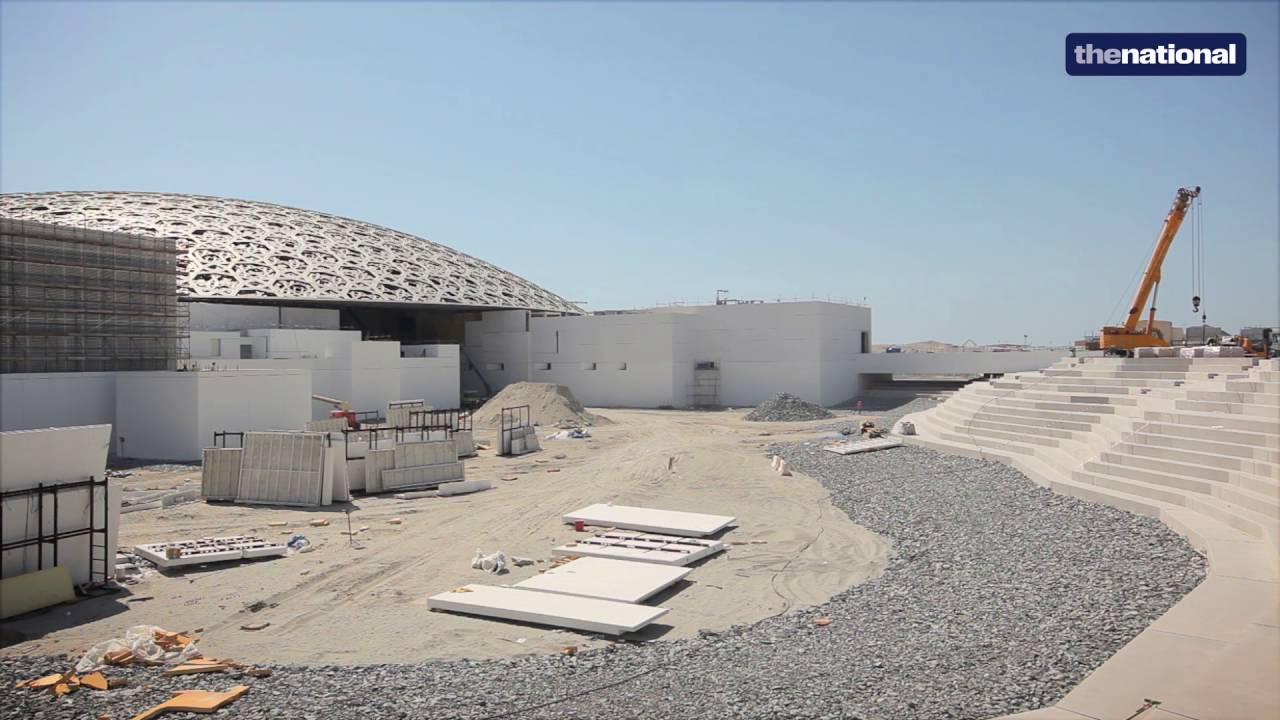 The Louvre Abu Dhabi, designed by Jean Nouvel,is slowly transitioning from a construction site dominated by towering cranes and scaffolding, into the museum it is fabled to become - now that the pools in and around the building have been filled in.