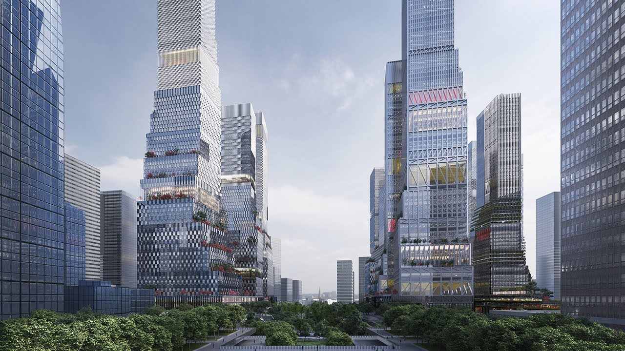 With a scheme of twelve staggering skyscrapers, an elevated pedestrian network and a beautiful green urban park, Mecanoo architecten has been named the winner of the urban design competition for the Shenzhen North Station business district...