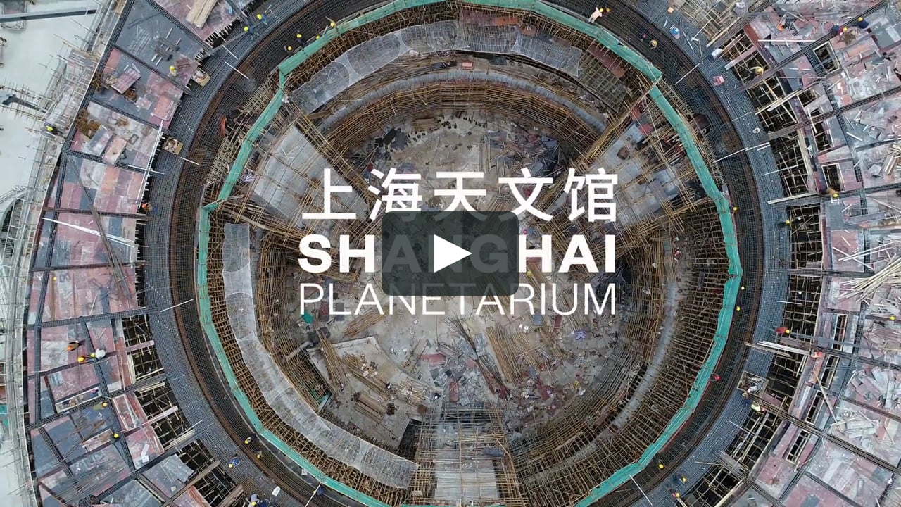 Images taken from a drone show the progress of construction work at the site of the Shanghai Planetarium, designed by Ennead Architects and to be completed in 2020.
