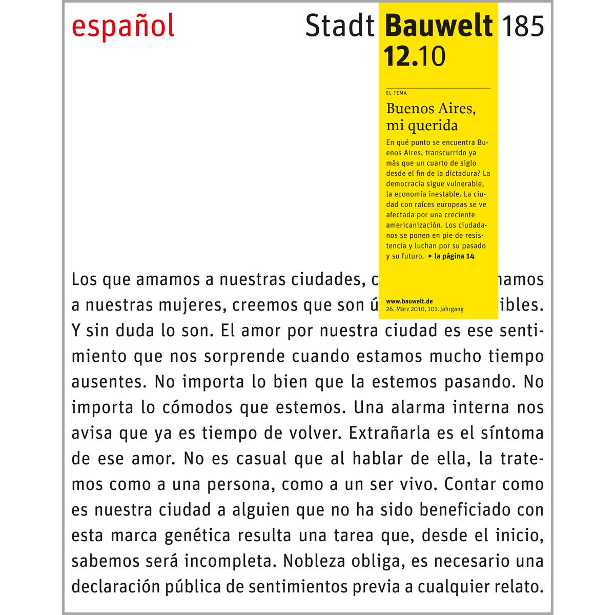 Bauwelt 185, 12.10: Buenos Aires, mi querida